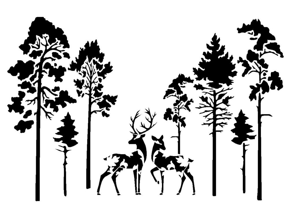 Vintage Deers In Forest Stencil 2 | Prints & Svg's Board 2 Intended For Fabric Animal Silhouette Wall Art (View 11 of 15)