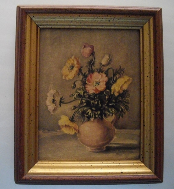 Vintage Floral Lithograph, Still Life Flowers Wall Decor, Framed In Flowers Framed Art Prints (View 11 of 15)