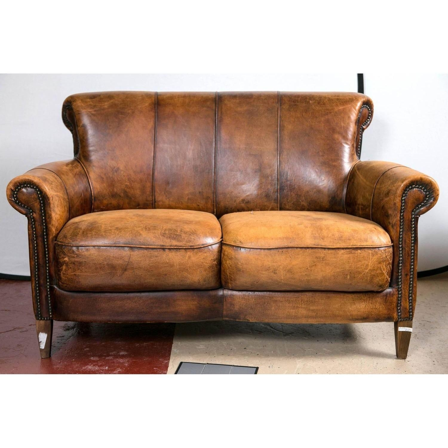 Vintage French Distressed Art Deco Leather Sofa | Leather Sofas, Art Regarding Art Deco Sofas (Image 10 of 10)