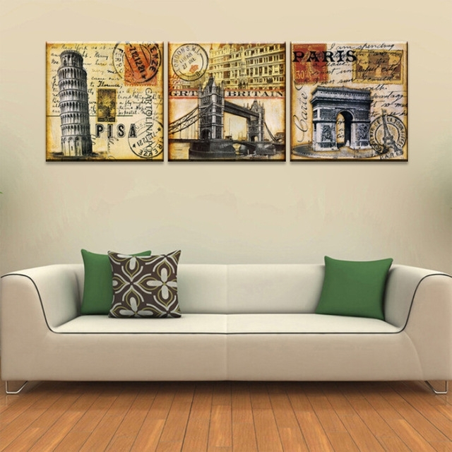 Vintage Home Decoration Wall Art 3 Piece Print Canvas Oil Painting Regarding Retro Canvas Wall Art (View 12 of 15)