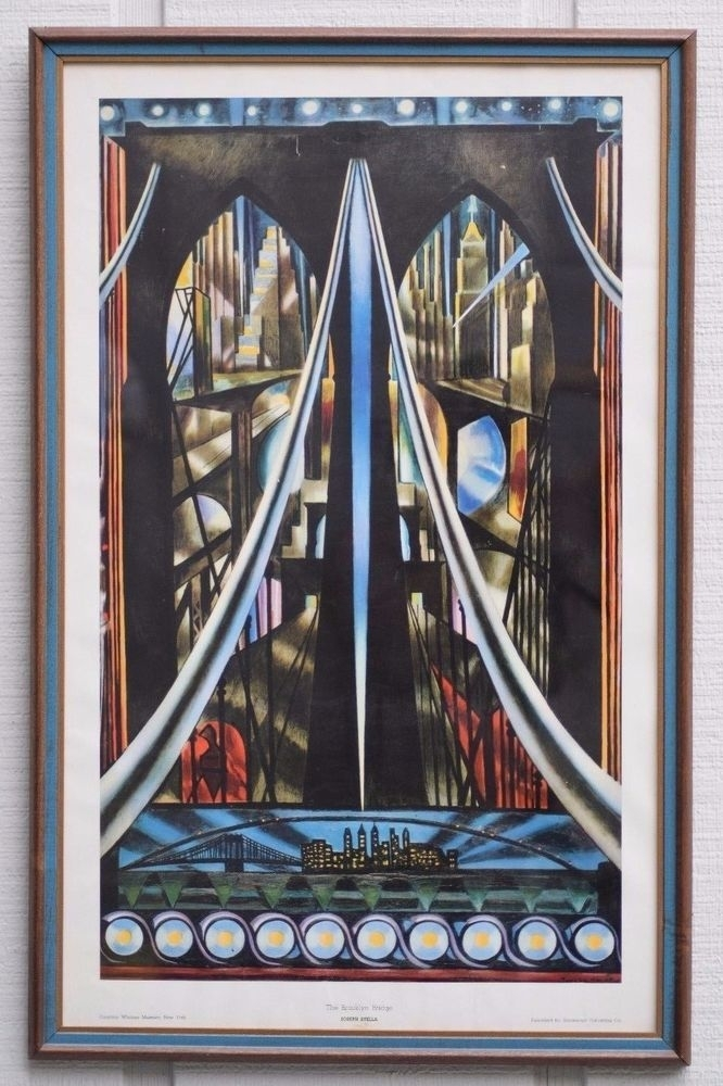 Vintage Joseph Stella The Brooklyn Bridge Lithograph Poster Framed Within Famous Art Framed Prints (View 11 of 15)