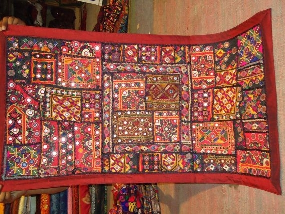 Vintage Mirror Work And Banjara Patchwork Wall Hanging | Vintage Inside Indian Fabric Art Wall Hangings (Image 15 of 15)
