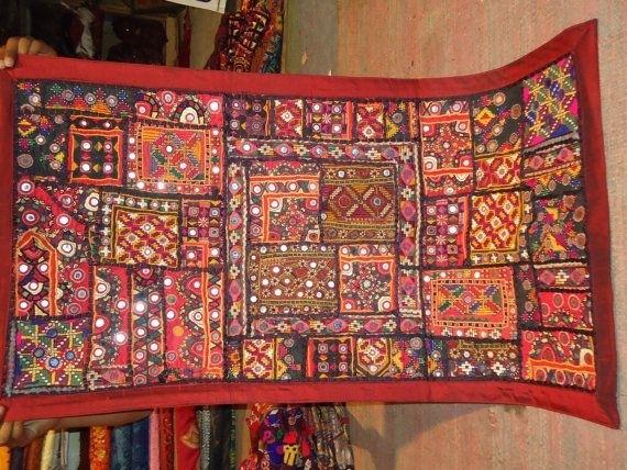 Vintage Mirror Work And Banjara Patchwork Wall Hanging | Vintage Inside Indian Fabric Art Wall Hangings (Image 15 of 15)