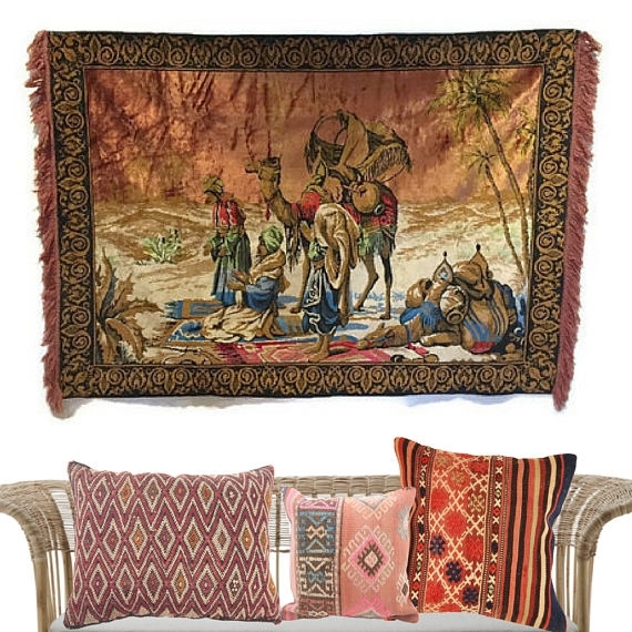 Vintage Textile Wall Art Camel Tapestry Wall Hanging Arabian For Vintage Textile Wall Art (Image 12 of 15)