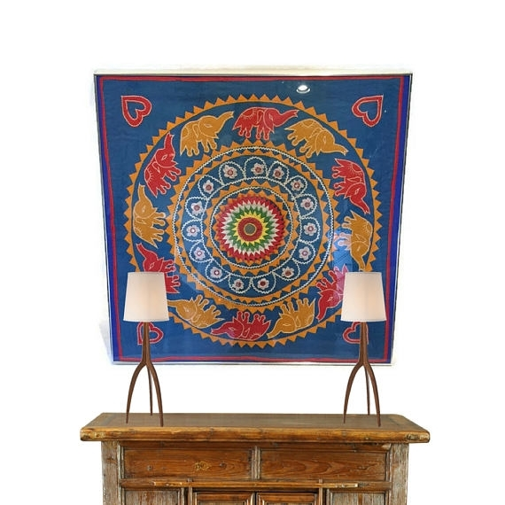 Vintage Textile Wall Art Framed Embroidered Elephant Mandala Within Vintage Textile Wall Art (Image 13 of 15)