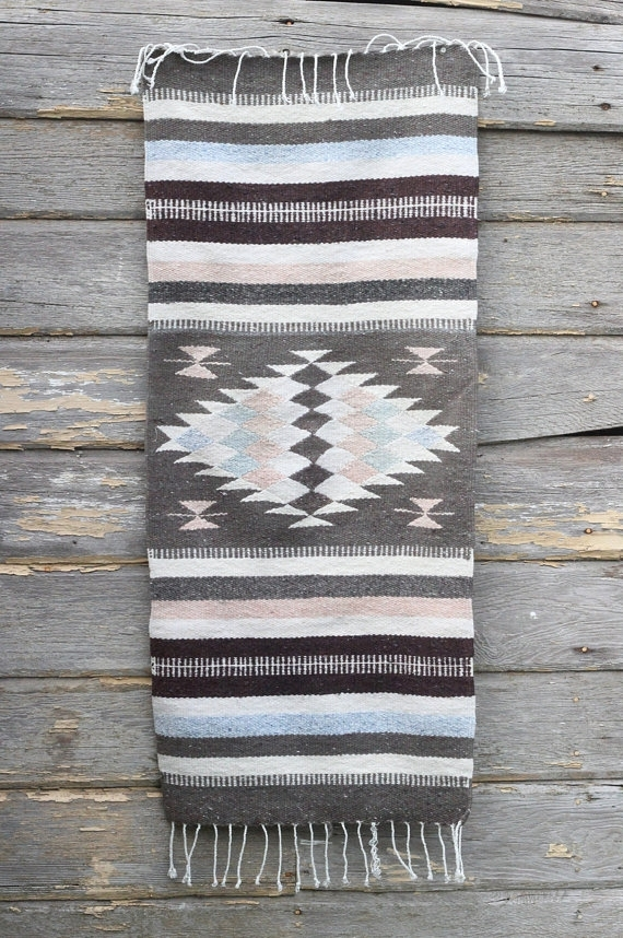 Vintage Woven Textile / Southwestern Table Runner / Colorful For Aztec Fabric Wall Art (Photo 3 of 15)