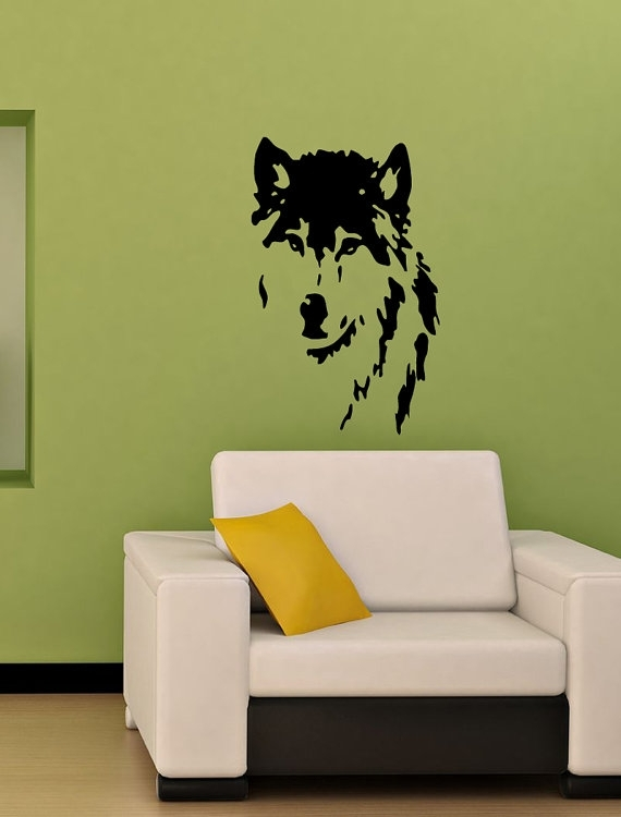 Vinyl Decal Wolf Dog Home Wall Art Decor Removable Stylish Sticker With Removable Wall Accents (View 14 of 15)