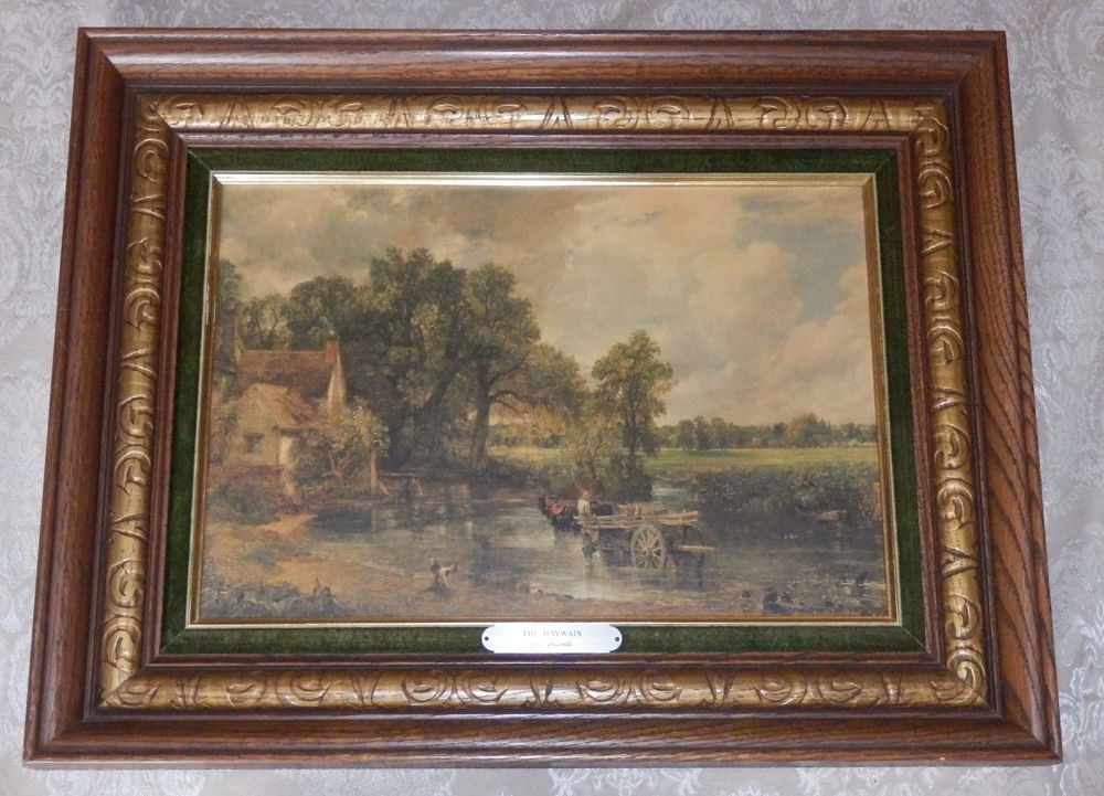 Vtg Haywain Print In Wood Picture Frame John Constable Aaron Pertaining To Antique Framed Art Prints (Image 14 of 15)