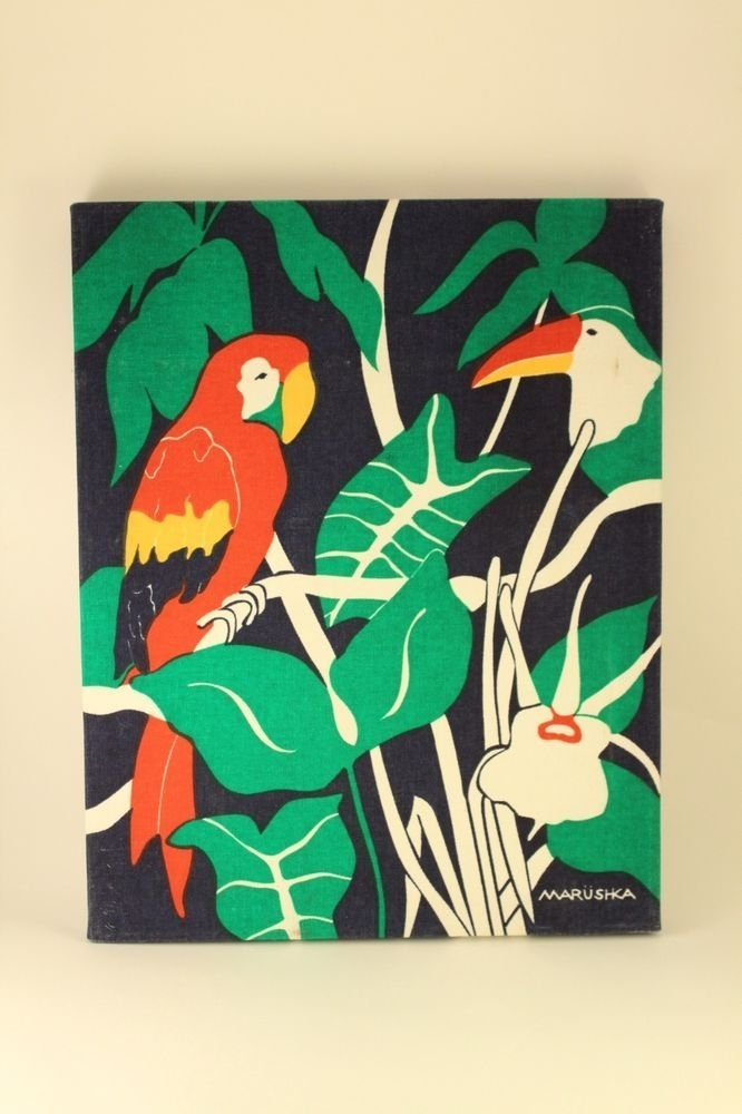 Vtg Marushka Wall Art Parrot Bird Canvas Fabric Silk Screen Wood Regarding Wall Art Fabric Prints (Image 12 of 15)