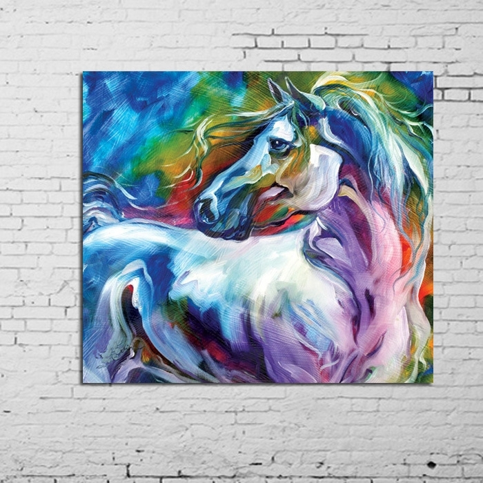 Wall Art 100% Handpainted Modern Abstract Horse Pictures On Canvas Throughout Abstract Horse Wall Art (View 6 of 15)