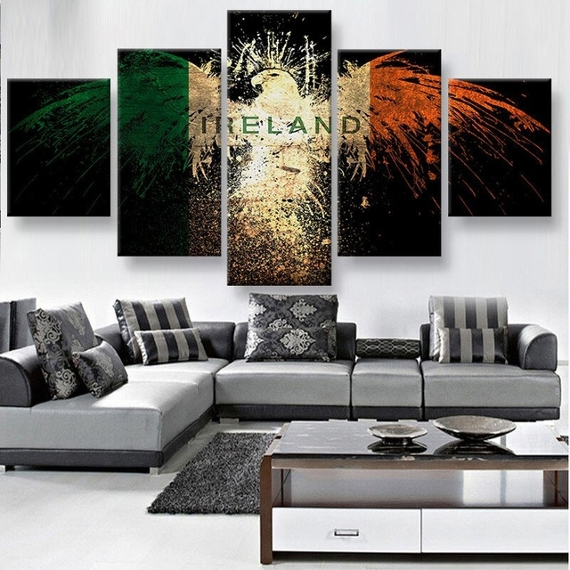 Wall Art 5 Panels Canvas Prints Ireland Eagle Canvas Painting Home Intended For Ireland Canvas Wall Art (Image 12 of 15)
