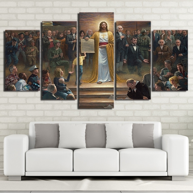 Wall Art Canvas Pictures Home Decor Frame 5 Pieces Classic With Jesus Canvas Wall Art (Image 14 of 15)