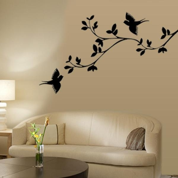 Wall Art Decor: Black Tree Designs For Wall Art Branches Bird Sofa With Regard To Fabric Tree Wall Art (Image 13 of 15)