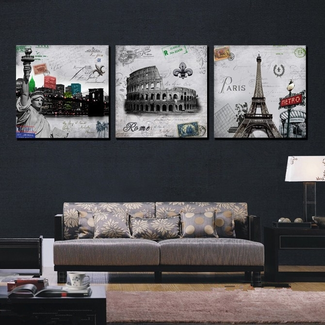Wall Art Decor: Calligraphy Piece Paris Canvas Wall Art Free Hot Regarding Canvas Wall Art Of Paris (Image 10 of 15)