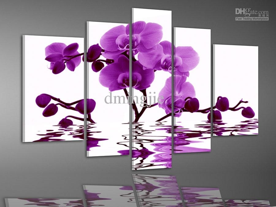 Wall Art Decor: Cheap Painting Elegant Wall Art Flower Purple Pertaining To Purple Flowers Canvas Wall Art (View 8 of 15)