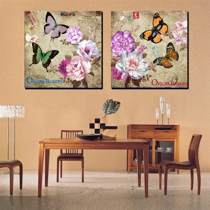 Wall Art Decor: Decorative Flower Butterfly Canvas Wall Art Throughout Butterflies Canvas Wall Art (Image 14 of 15)