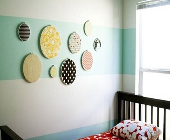 Wall Art Decor: Floral Ideas Cloth Wall Art Polkadot Motive Cyrcle With Regard To Floral Fabric Wall Art (View 2 of 15)