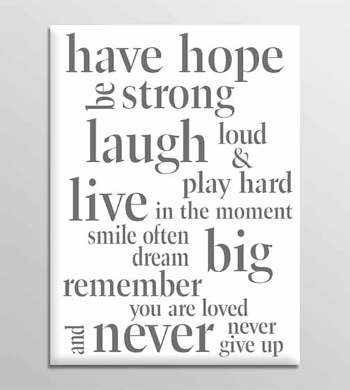 Wall Art Decor: Have Canvas Wall Art Quotes Hope Be Strong Laugh With Large Canvas Wall Art Quotes (View 10 of 15)