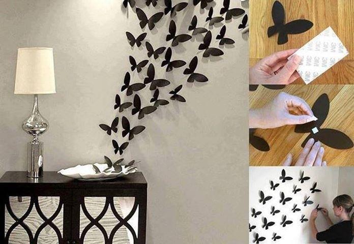 Wall Art Decor Ideas: Fabric Flexibility Butterfly Wall Art Diy in Fabric Butterfly Wall Art