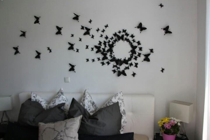 Wall Art Decor Ideas: History Gradual Butterfly Wall Art Diy Throughout Fabric Butterfly Wall Art (Image 15 of 15)