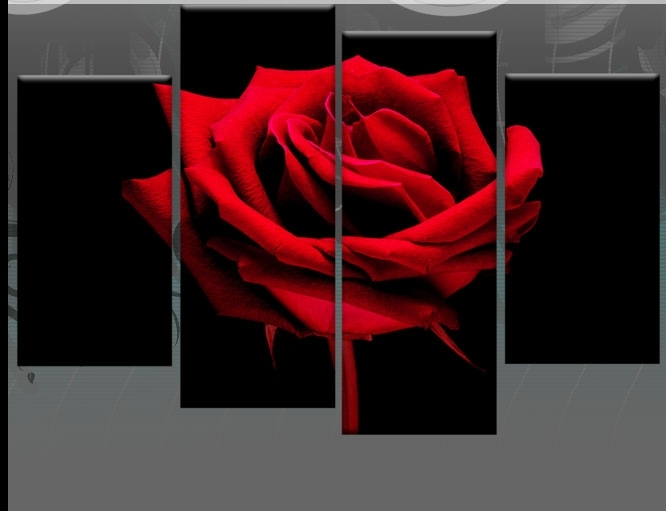 Wall Art Decor Ideas: Stunning Large Red Rose Wall Art Huge Zoomed Intended For Roses Canvas Wall Art (Image 14 of 15)