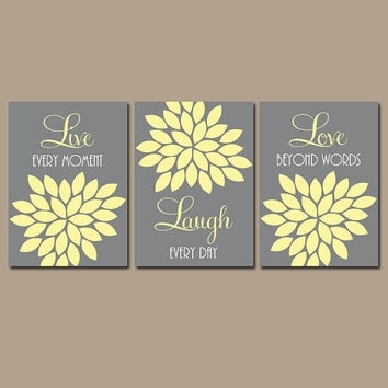 Wall Art Decor Ideas: Wanelo Yellow And Gray Wall Art Quotes In Live Laugh Love Canvas Wall Art (View 7 of 15)