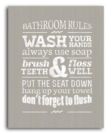 Wall Art Decor Ideas: Wash Bathroom Rules Canvas Wall Art Your Inside Bathroom Canvas Wall Art (Image 14 of 15)
