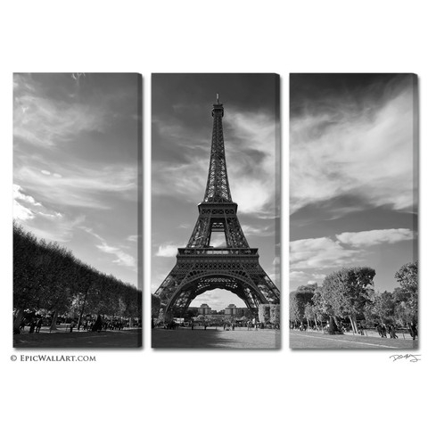 Wall Art Decor: Piece Square Paris Canvas Wall Art Large Black With Canvas Wall Art Of Paris (View 2 of 15)