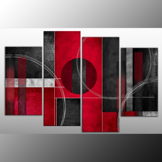 Wall Art Decor: Rosso Nero Canvas Wall Art Red Panel Black Grey For Rectangular Canvas Wall Art (Image 6 of 15)