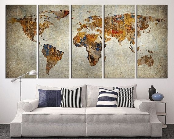Wall Art Design: Extra Large Canvas Wall Art Luxurious Canvas Pertaining To Maps Canvas Wall Art (View 2 of 15)