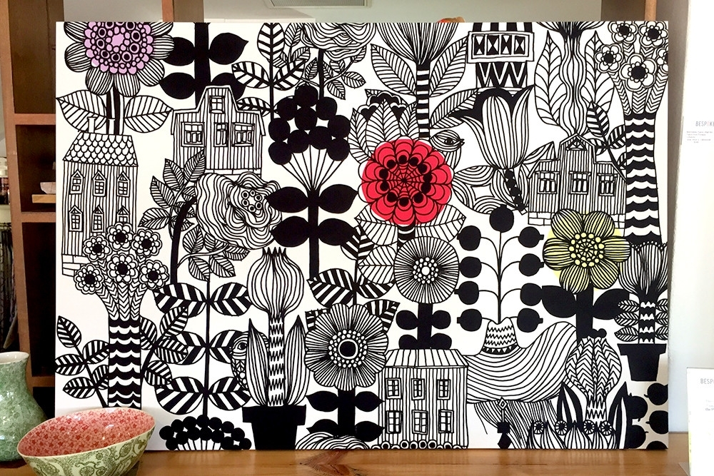 Wall Art Design Ideas: Bold Timeless Marimekko Wall Art Gained Throughout Floral Fabric Wall Art (Image 15 of 15)