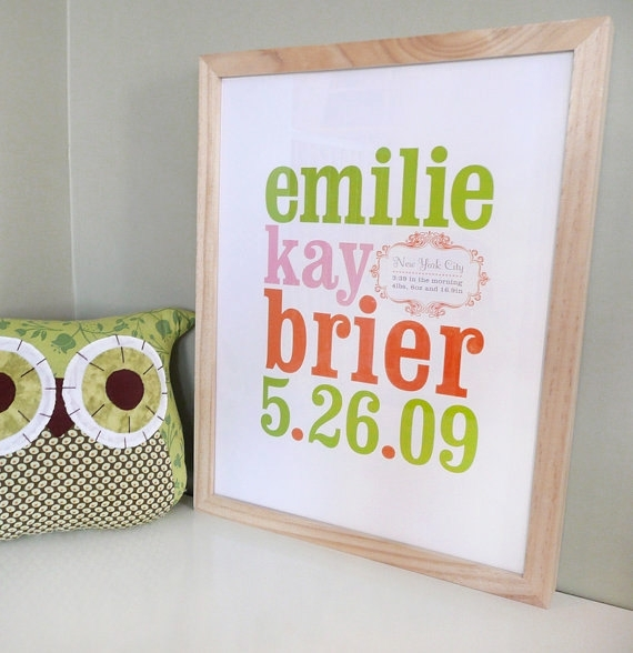 Wall Art Design Ideas: Bordered Canvas Wall Name Art Birth Date Regarding Baby Names Canvas Wall Art (View 10 of 15)