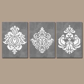 Wall Art Design Ideas: Brown Wallpaper Damask Wall Art Stickers Regarding Damask Fabric Wall Art (Image 14 of 15)