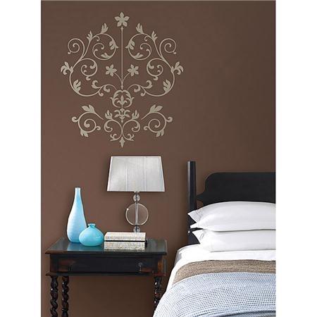 Wall Art Design Ideas: Brown Wallpaper Damask Wall Art Stickers Regarding Damask Fabric Wall Art (Image 13 of 15)