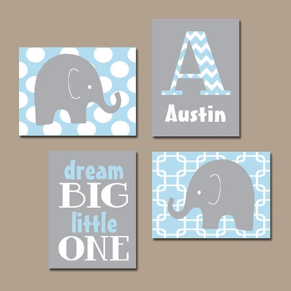 Wall Art Design Ideas: Interior Decoration Elephant Nursery Wall Within Personalized Nursery Canvas Wall Art (View 6 of 15)