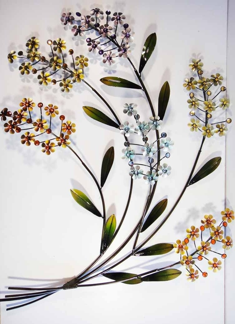 Wall Art Design Ideas: Premium Metal Floral Wall Art Hand Made Inside Flowers Wall Accents (View 9 of 15)