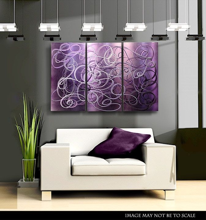 Wall Art Design Ideas: Purple Abstract Accent Wall Art In Fabric Wall Accents (Image 13 of 15)