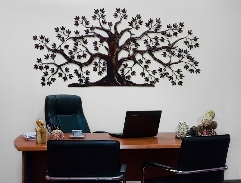 Wall Art Design Ideas: Steel Wooden Tree Of Life Wall Art Metal In Fabric Tree Wall Art (Image 14 of 15)