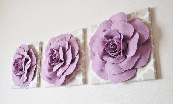 Wall Art Design Ideas: Three Purple Lilac Wall Art Beautiful Pertaining To Lilac Canvas Wall Art (View 5 of 15)