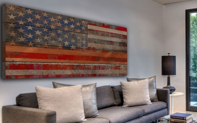 Wall Art Design Ideas: Usa Reclaimed Wooden American Flag Wall Art Throughout American Flag Fabric Wall Art (Image 13 of 15)