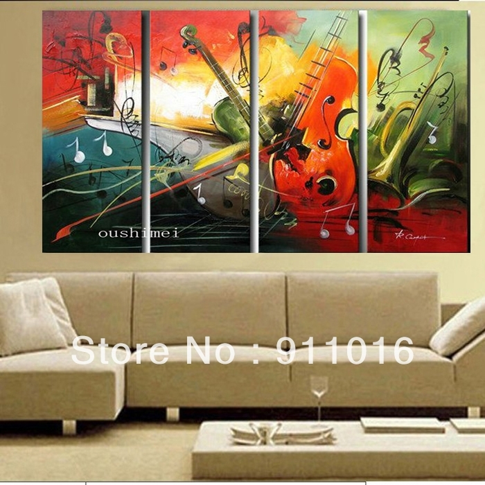 Wall Art Design: Music Canvas Wall Art Hand Painted Oil Painting Regarding Music Canvas Wall Art (Image 11 of 15)