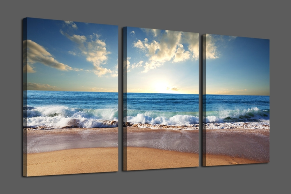 Wall Art Designs: Beach Canvas Wall Art Bule Seascape The Pertaining To Beach Canvas Wall Art (Image 13 of 15)
