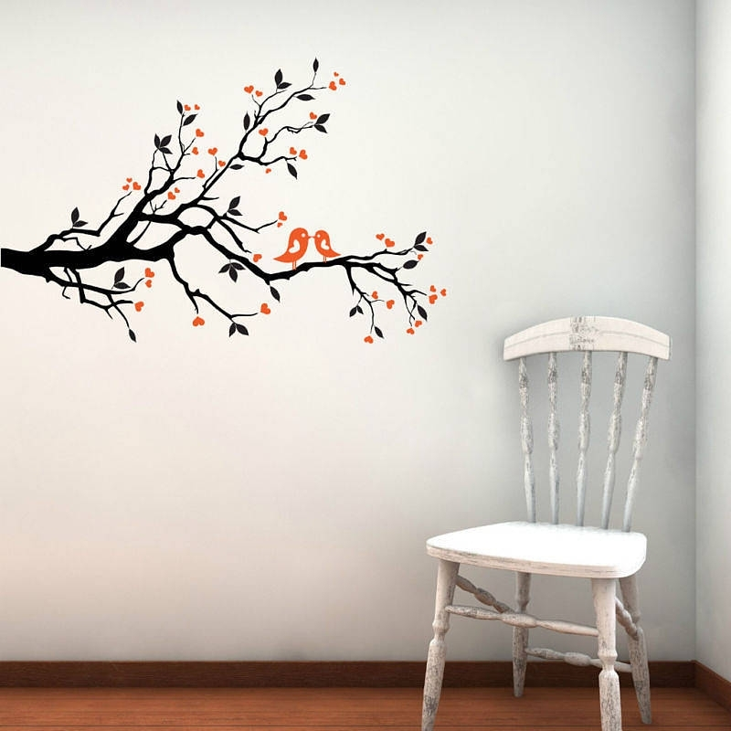 Wall Art Designs: Bird Wall Art Love Birds On Blossom Branch Wall Throughout Fabric Bird Wall Art (Image 15 of 15)