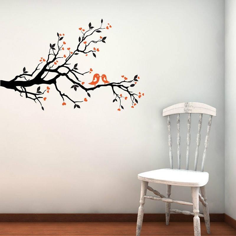 Wall Art Designs: Bird Wall Art Love Birds On Blossom Branch Wall Throughout Fabric Bird Wall Art (View 14 of 15)