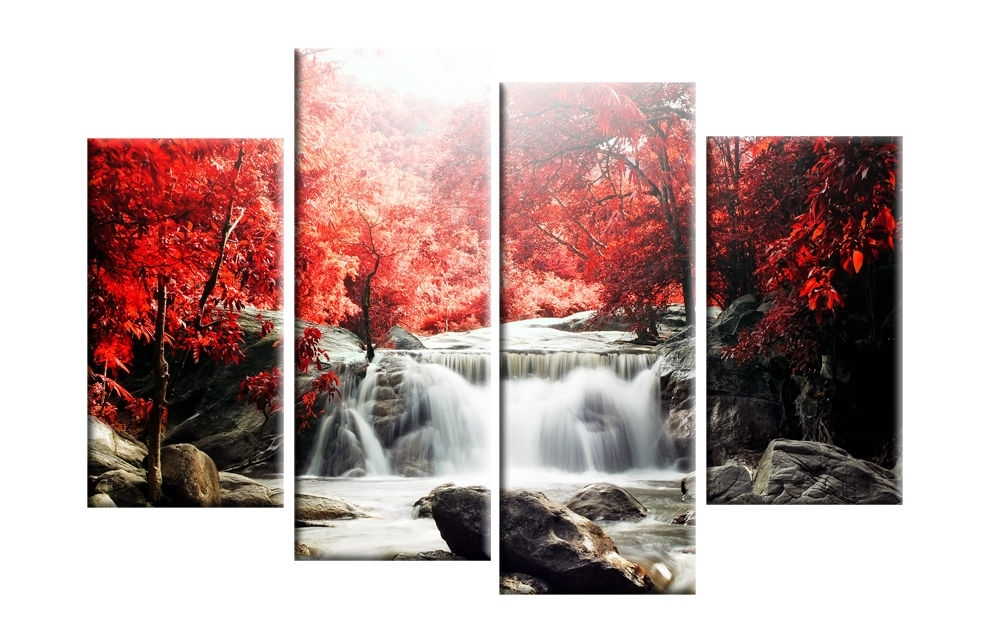Wall Art Designs: Canvas Wall Art Red Autmn Forest Waterfall In Red Canvas Wall Art (Image 13 of 15)