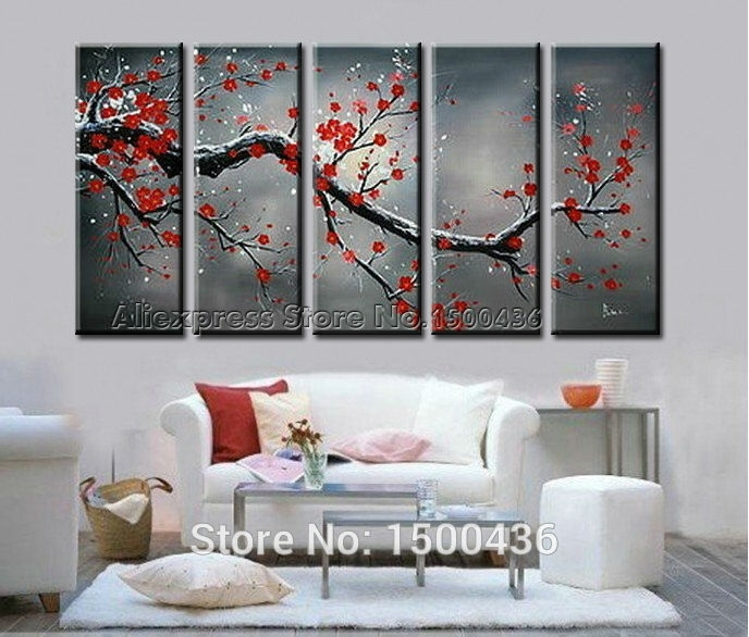 Wall Art Designs: Cheap Wall Art Cherry Blossom Large Modern Wall With Large Red Canvas Wall Art (View 7 of 15)