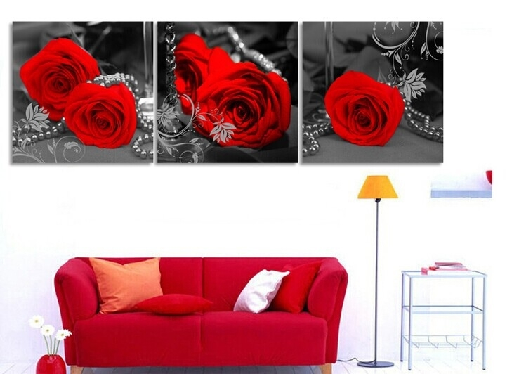 Wall Art Designs: Decor Red Rose Canvas Wall Art Large Oil Intended For Roses Canvas Wall Art (View 2 of 15)