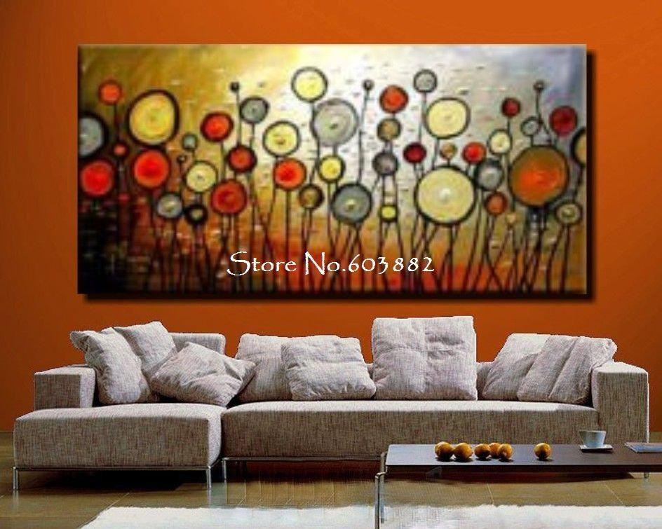 Wall Art Designs: Discount Wall Art Floral Painting Large Canvas Intended For Orange Canvas Wall Art (View 8 of 15)