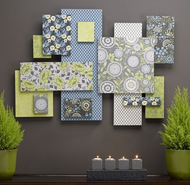 Wall Art Designs: Fabric Wall Art Art Made From Scrapbook Paper For Inexpensive Fabric Wall Art (Image 15 of 15)