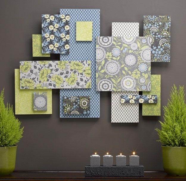 Wall Art Designs: Fabric Wall Art Art Made From Scrapbook Paper Regarding Fabric Stretcher Wall Art (Image 15 of 15)
